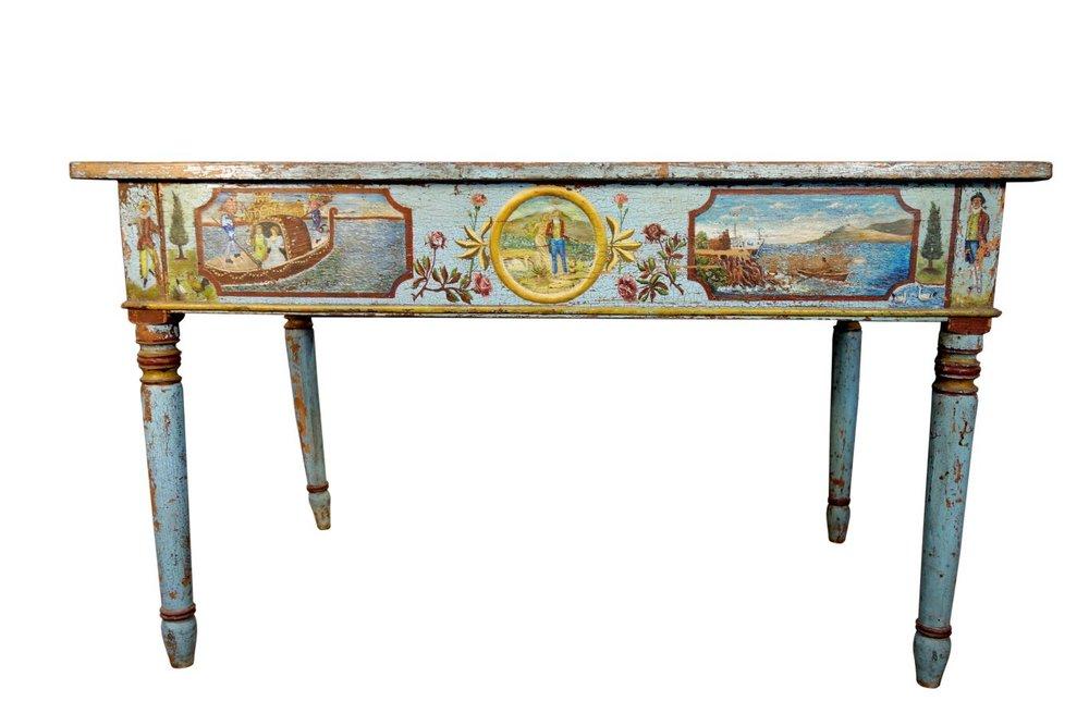 Antique Italian Sicilian Hand Painted Nuptial Desk Table, Ca 1820