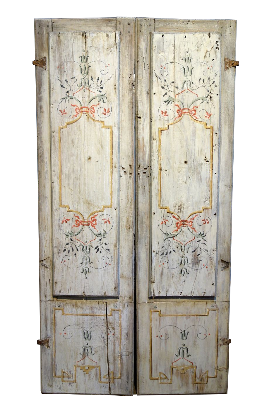 antique italian pair of hand painted door panels from arezzo