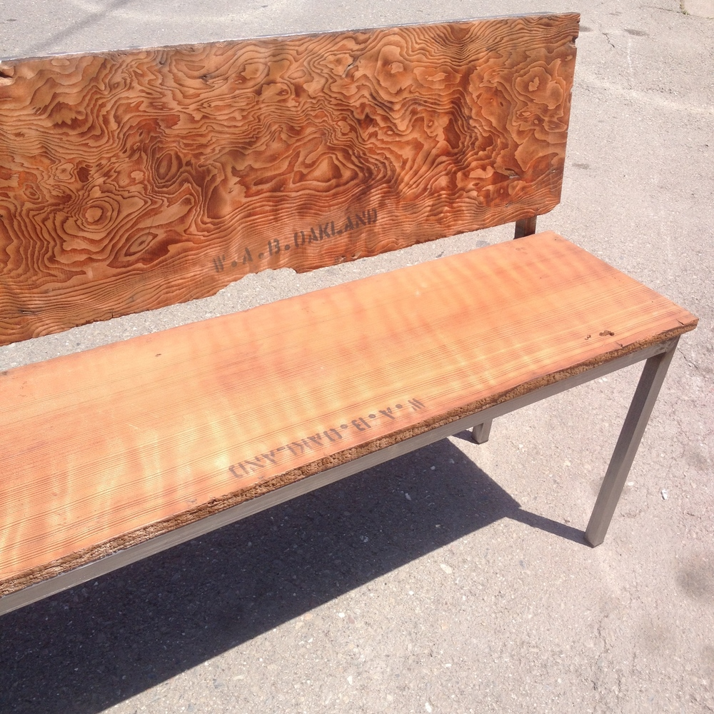 Reclaimed Wood Bench with Steel Base