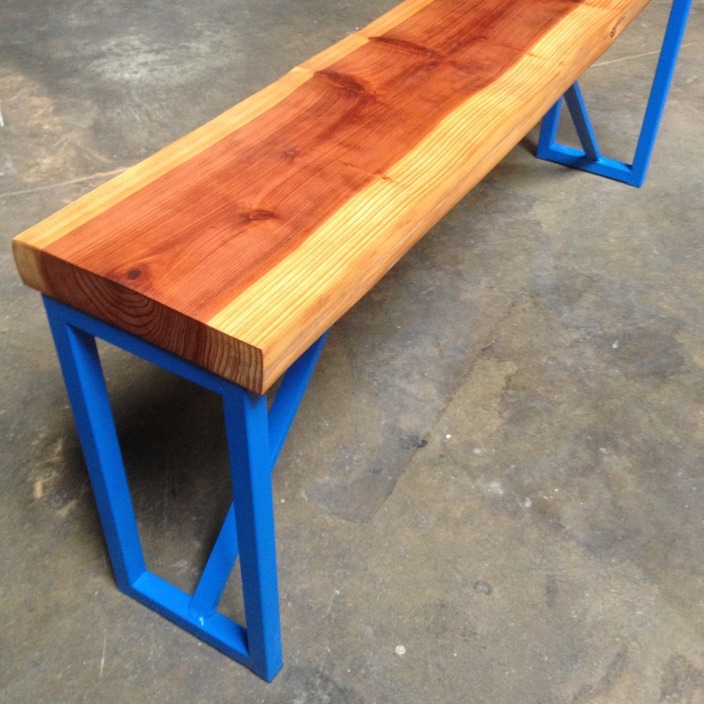 Redwood and Blue Steel Bench