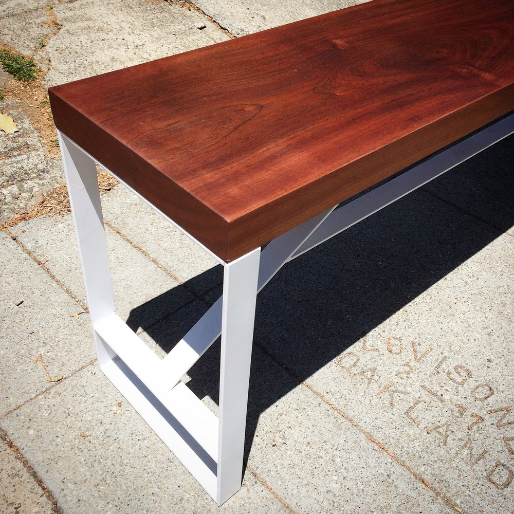 Sapele and White Steel Bench