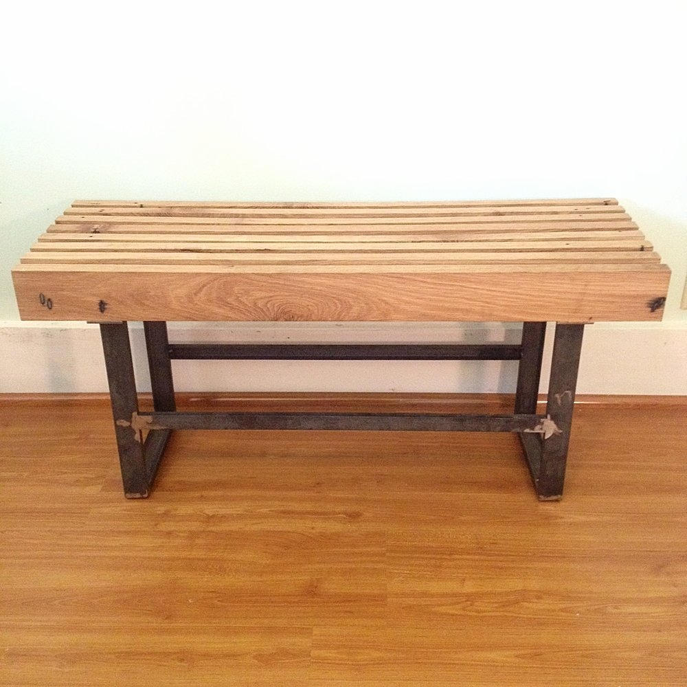 Reclaimed Oak Slatted Bench