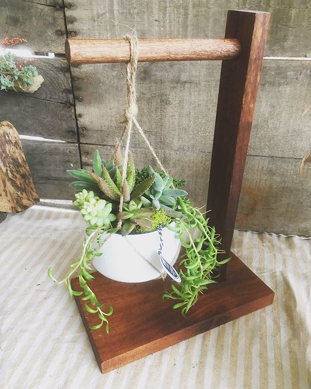 Making more plant gear for my #planthoarder wife.  This cool table top plant hanger is made from sapele and has a hand carved dowel for that extra handmade touch. *** coming soon to my Etsy shop and website-until then, you can message me to order yours now ***