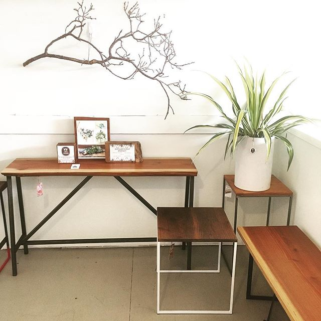Current pop up @goldandrust on piedmont ave in #Oakland.  Come see me there tomorrow from 3-7 • Lets chat about custom furniture possibilities and get something made that's one of a kind and just for you. •Also @westwindsucculents has freshly potted succulent arrangements for you to bring to a new home