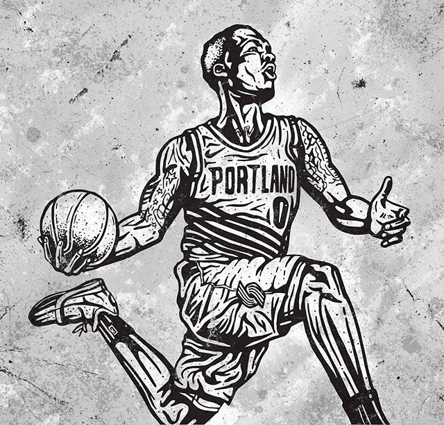 It's not often that I post just the linework, but why not. Here's a @damianlillard piece in the works. Doesn't look too bad like this! Color version coming soon. . . #ripcity #blazers #trailblazers #portlandtrailblazers #portland #portlandbasketball #portlandproud #dame #damedolla #damianlillard #lillard  #nbaart #blazersfan #illustration #illustrators #designinspiration #basketballart #streetartist #4barfriday #ballislife #ballerart #inking #ink #sharpieart #illustratorlife #slam #slamdunk #gamewinner #dametime #digitalpainting