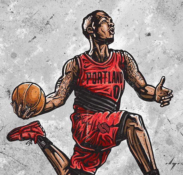 Now with color. But not done yet! . . #ripcity #blazers #trailblazers #portlandtrailblazers #portland #portlandbasketball #portlandproud #dame #damedolla #damianlillard #lillard  #nbaart #blazersfan #illustration #illustrators #designinspiration #basketballart #streetartist #4barfriday #ballislife #ballerart #inking #ink #sharpieart #illustratorlife #slam #slamdunk #gamewinner #dametime #digitalpainting