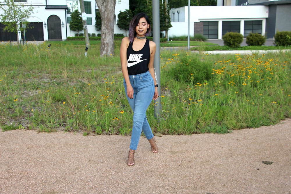 Mile high slim crop jeans with racer back tank top  GIVEAWAY!!