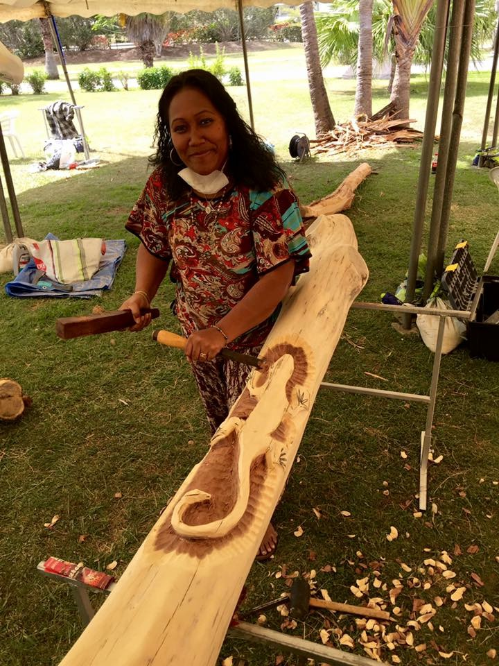 Cecile Sakilia  - woodcarver visiting from mont dore, NEw Caledonia