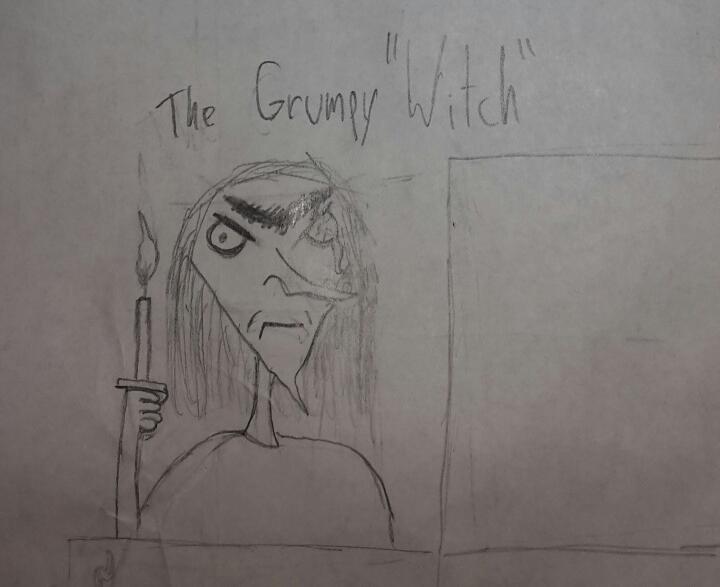 A grumpy witch.