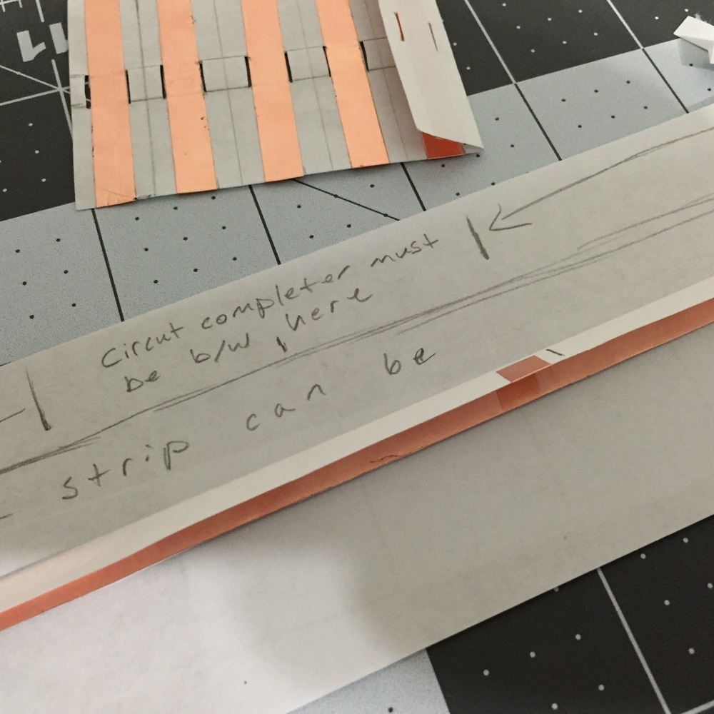The current variation of a guide track that functions reliably using only flat materials like copper, paper, tape, and photo adhesive.