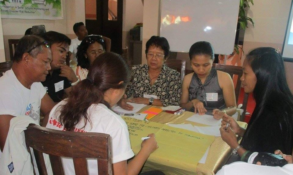 Eastern visayas network of non-government organizations and people's organizations provides training and technical assistance to barangay and local government workers in child-centered disaster risk reduction management source: code-ngo.org