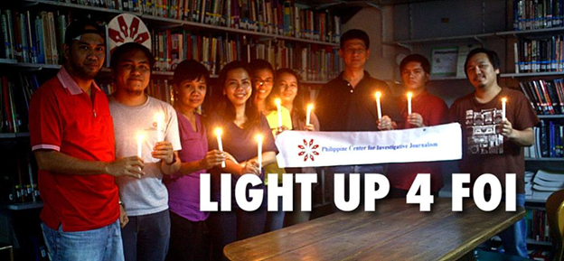 PCIJ LIGHT UP CANDLES FOR THE FREEDOM OF INFORMATION SOURCE: PCIJ FACEBOOK PAGE