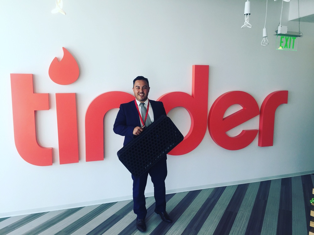 Dustin trying to stay out of trouble while visiting tinder HQ in Westhollywood, CA