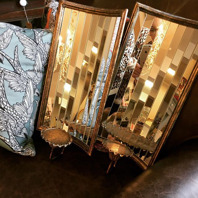 Lovely pair of deco style wall mirrors just hit the shop, perfect to add a little interest to a small corner #roseandleeinteriors #mirrored #wallmirrors #home #interiror #prestwich #manchester