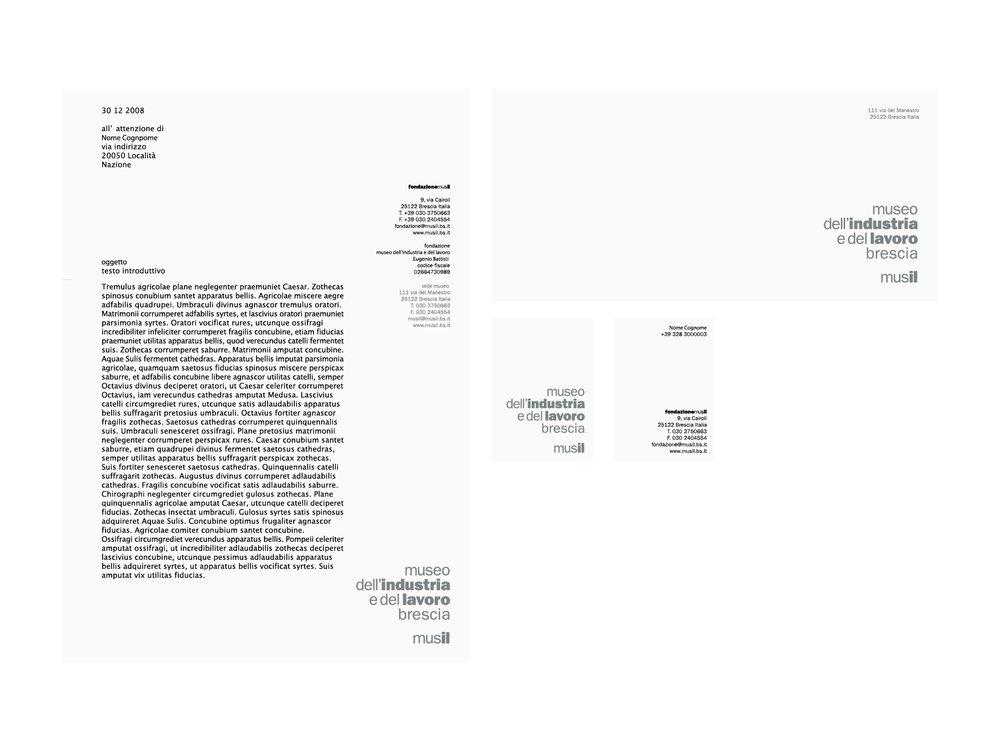 immagine coordinata Museo di Brescia (carta da lettere, busta, biglietto presentazione).