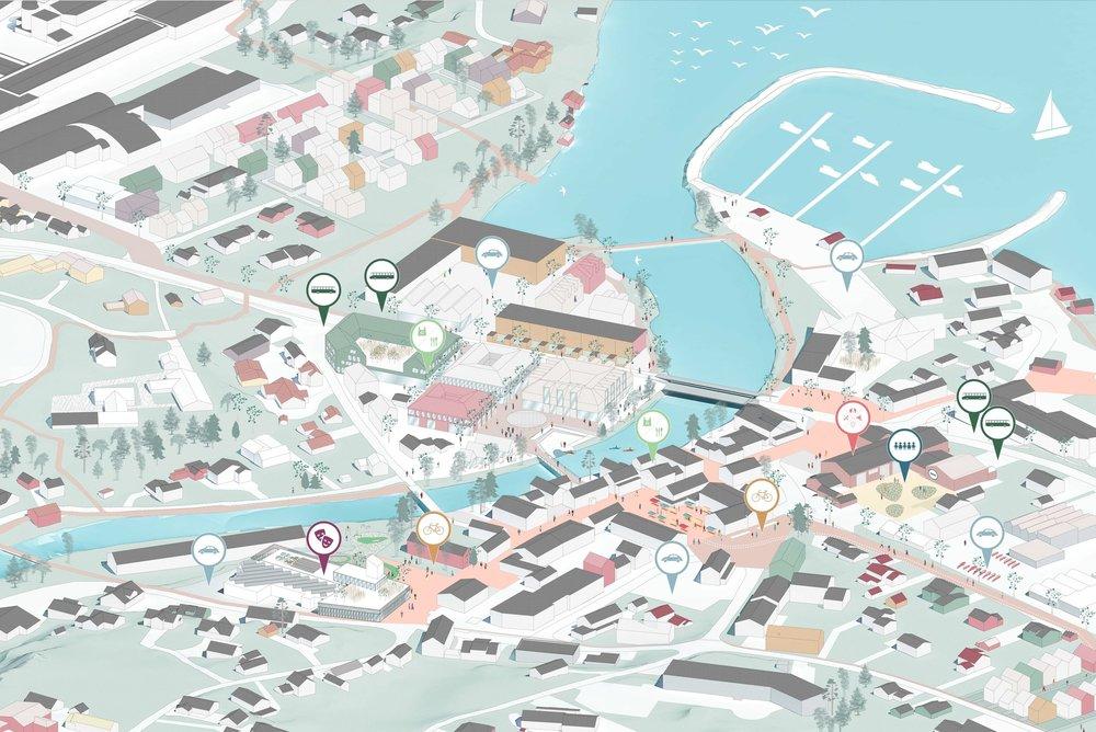 Visjon for hvordan Kyrksæterøra sentrum kan se ut en gang i fremtiden.