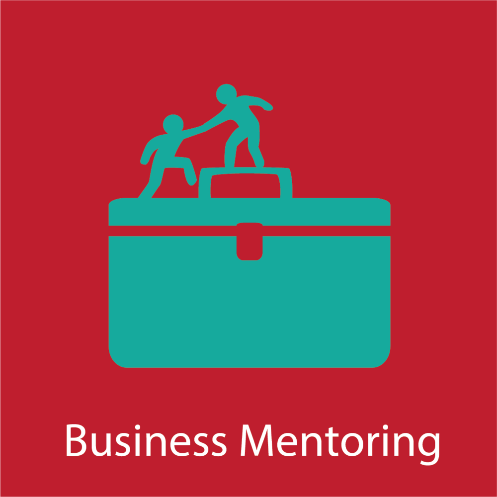 Men helping each other on briefcase graphic for business mentoring
