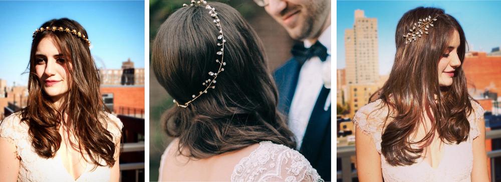 From left to right: Celeste headband, Emilia halo, Persephone halo