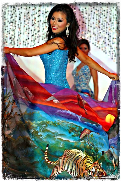 "This is Diane's cultural gown for Miss Asia USA.  She won ""Best National Costume"" for Miss Asia USA and designed the entire dress including the artwork. The back of the dress was hand-painted by a famous Latin American artist."
