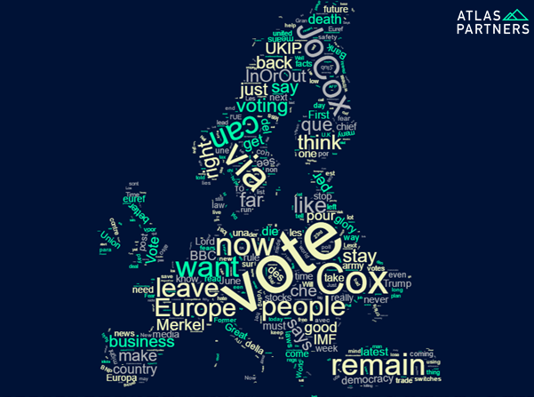 Atlas Partners produced this visual of the most used words on twitter #EUref using the free tool  Word Clouds  .