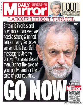 Tuesday's Mirror front page echoed the calls of 172 Labour MPs.