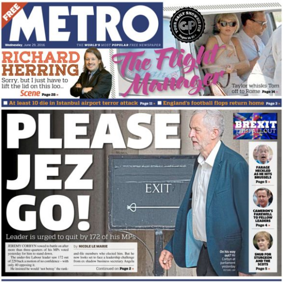 Wednesday's Metro front cover sends a pretty clear message to Jeremy Corbyn