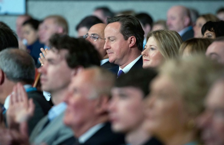 David Cameron demonstrates the importance of tip three, take some time in the conference hall