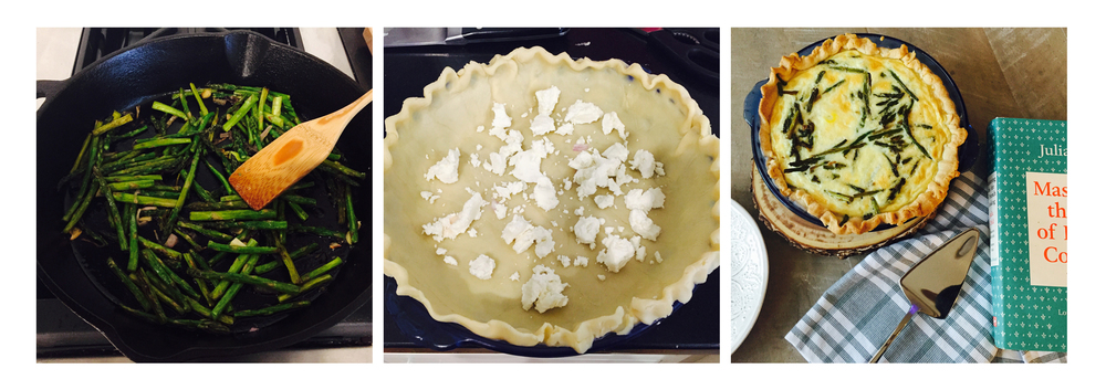 Goat cheese quiche, step by step.