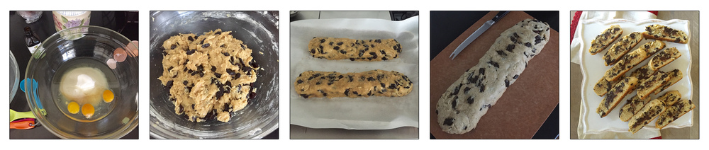 chocolate chip passover mandel bread, step by step.