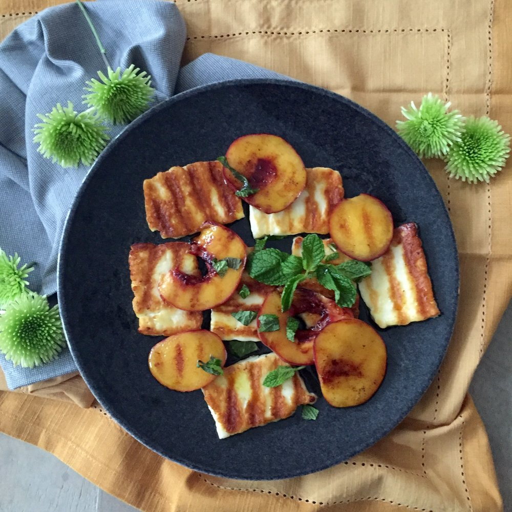 Grilled peaches & halloumi.