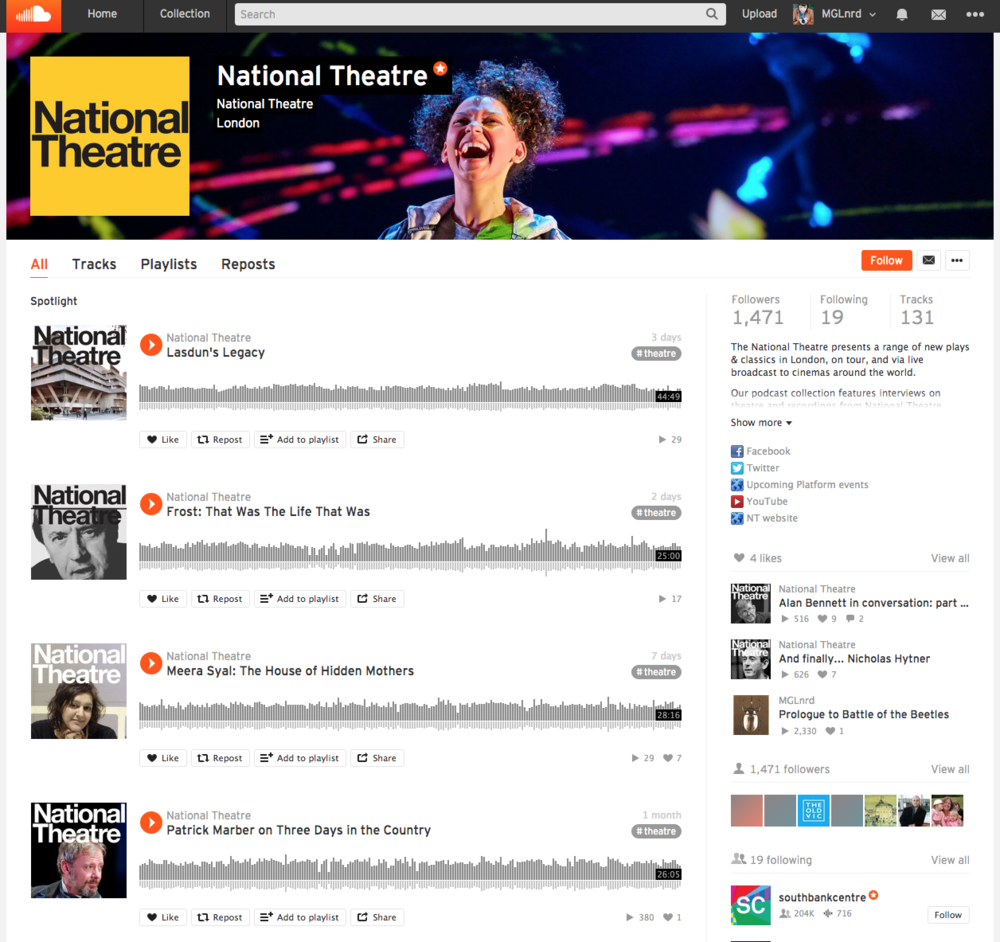 The National Theatre's Soundcloud platform