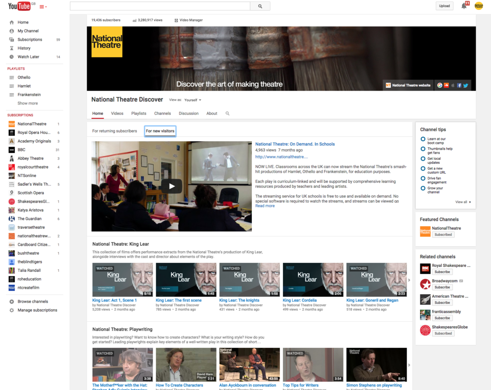 The National Theatre's educational YouTube Channel, created and curated by Maya