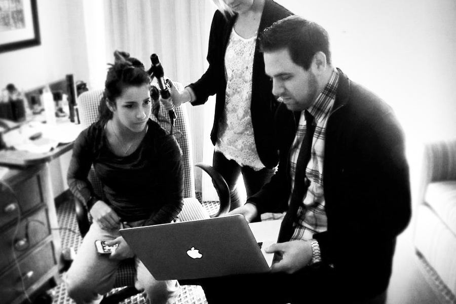 Torey reviewing footage with Aly Raisman during the filming of the documentary Aly Raisman : Quest For Gold