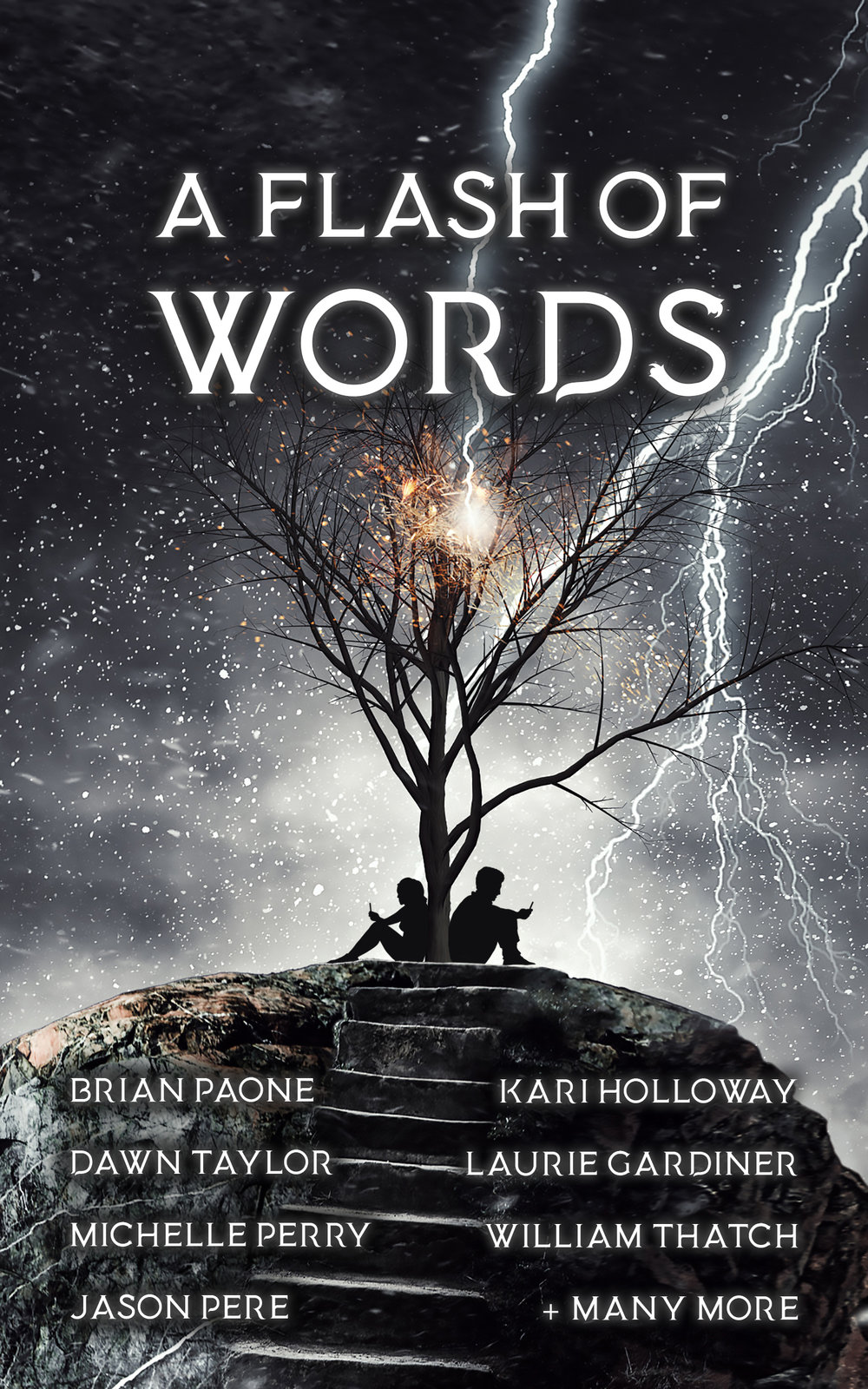 2018's flash-fiction installment,  A Flash of Words , includes 49 authors who were allowed to write a flash-fiction piece about any topic of theme.
