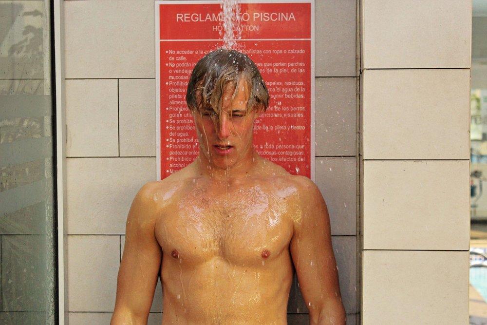 Olle fick sig en skönare dusch dock!