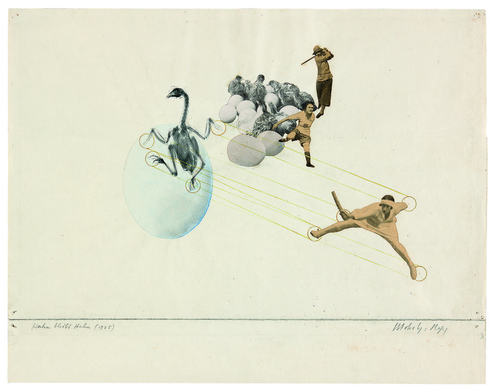 László Moholy-Nagy,Once a Chicken, Always a Chicken, 1925, photomontage (halftone reproductions, paper, watercolor, and grapite) on paper