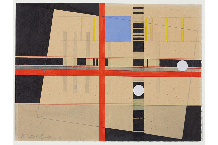 "László Moholy-Nagy ,  ""Red Cross and White Balls"" , 1921"