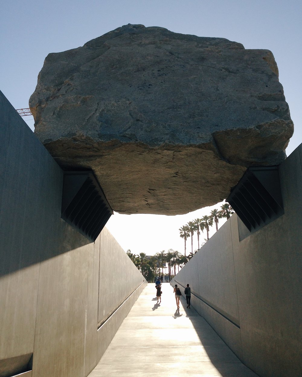 Levitated Mass - a large-scale 340-ton sculpture of a boulder by Michael Heizer outside the LACMA.
