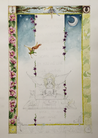 A progress picture of Peace Poster No. 1. The Peace Poster project revolves around the idea of a visible and illustrated quote, mantra or prayer, personalized to meet the commissioners desires.