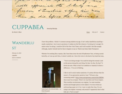 Here's a screenshot of my blog, which you can read at  cuppabea.wordpress.com