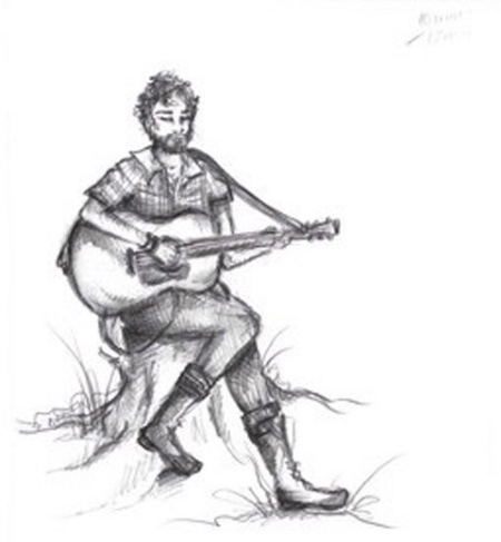 A sketch that M.H.S.(Editor, Illustrator and Performer at Camp Now) did of me, Cureado.