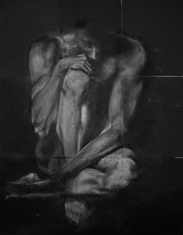 "25.5"" by 33"" white charcoal on black paper, by Naho Hirohata."