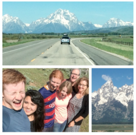 One of two vehicles entering Grand Teton National Park.  A family group selfie laughing into the sun, and clouds floating by the peaks that inspired us along the road.