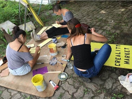 Painting signs for the farmer's market with the other Art Fairies, Mary, and Naho.