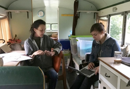 Ayla and I working on the Peace Bus
