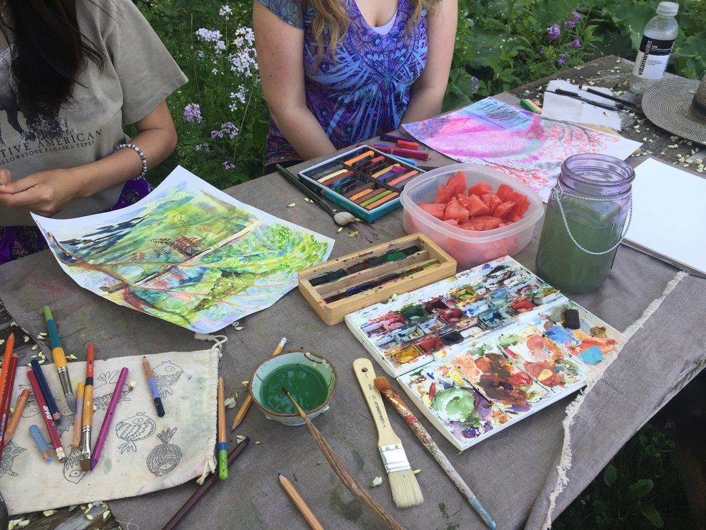An afternoon spent painting by the pond with two of my dear friends [Ayla Hull].