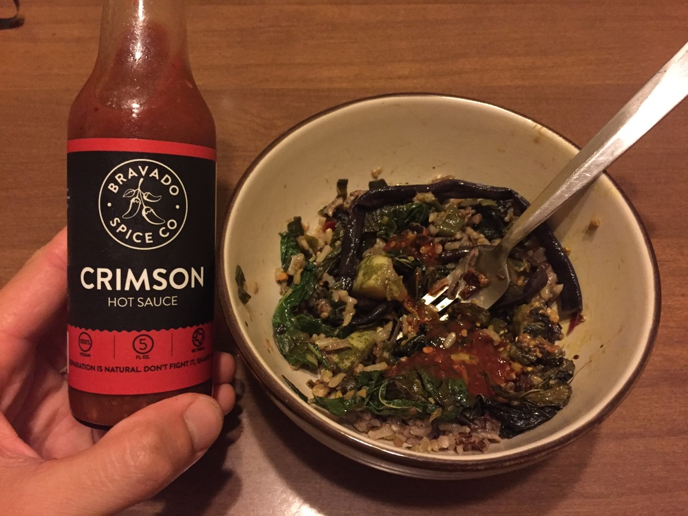Bravado Spice Co. Crimson hot sauce with our okra masala and stir-fry. Seriously, y'all, check these guys out!