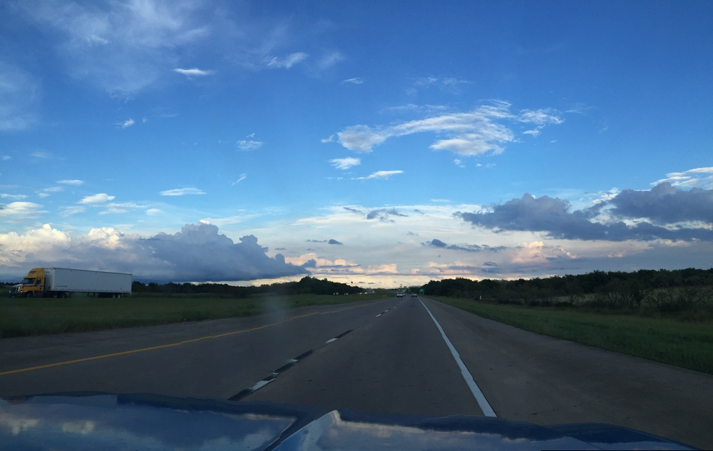 Ain't mad at our beautiful commute back into my hometown. Texas highway magic.