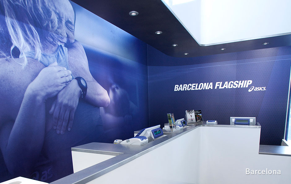 Interior graphics at ASICS' Barcelona flagship store