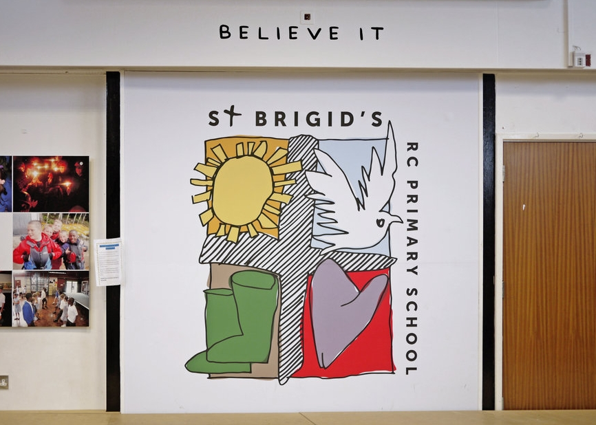 Branded wall graphics at St Brigid's Primary School